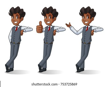 Set of businessman in vest leaning against cartoon character design, isolated against white background.