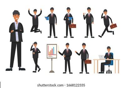 set Businessman working character design . Vector