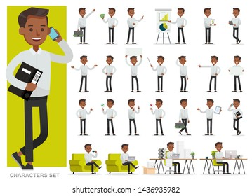 Set of businessman working character vector design. Presentation in various action with emotions, running, standing and walking.