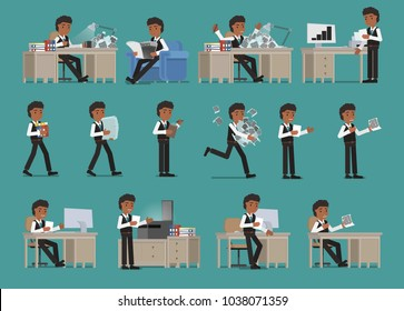 Set. Businessman working with documents. Vector illustration.