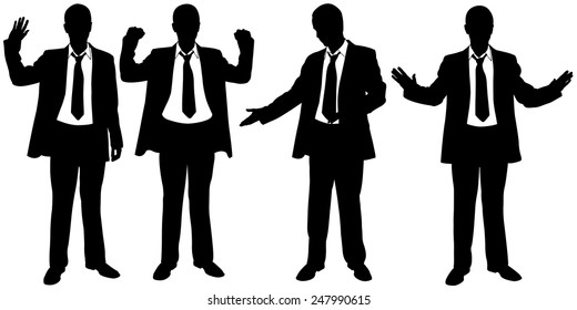 set of businessmen body expressions