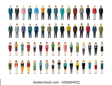 Set of businessmen and businesswomen in flat style. People in various office clothes stand in the front. Flat design, vector illustration.