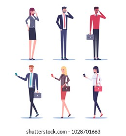 Set of businessmen and businesswomen talking on a mobile phone and using a smartphone while walking vector flat illustration. Business people standing and walking with smartphones on white background
