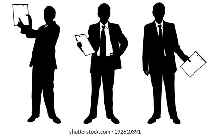 set of businessmen with clipboard isolated