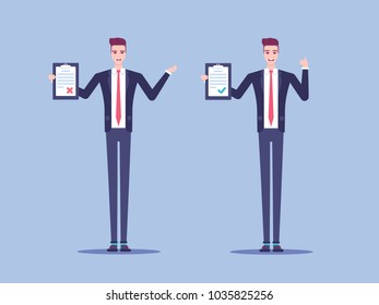 A set of businessmen or office workers standing with clipboard vector flat illustration, one businessman happy with the result and the other dissatisfied, properly filled form and wrong.