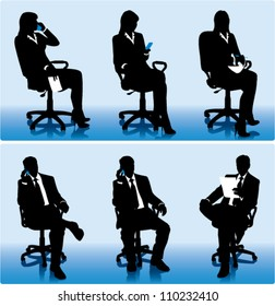 Set of businessmen silhouettes in office chairs.