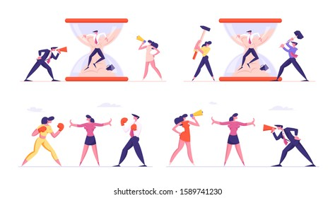 Set of Businesspeople Fighting and Arguing. Troubled Businessman Stuck in Hourglass Sand. Man and Woman Bosses Punching Hammers on Glass. Opponents in Boxing Gloves. Cartoon Flat Vector Illustration