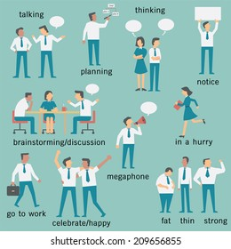 Set of businesspeople or office workers, man and woman, various characters and activities, in business concept set 2.