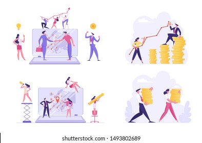 Set of Businesspeople Worldwide Communication and Profit Growth. Male and Female Characters Increasing Money Capital, Using Internet Technologies in Seo Management. Cartoon Flat Vector Illustration