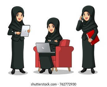 Set of businesswoman in black suit with veil cartoon character design working on gadgets, tablet, laptop computer, and mobile phone, isolated against white background.