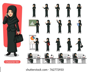 Set of businesswoman in black suit with veil cartoon character design with different poses, isolated against white background.