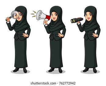 Set of businesswoman in black suit with veil cartoon character design, looking through binoculars, holding magnifying glass, and talking yelling shouting announcement with megaphone, isolated white.