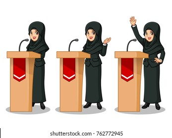 Set of businesswoman in black suit with veil cartoon character design politician orator public speaker giving a talk speech presentation standing behind rostrum podium, isolated against white