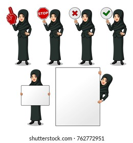 Set of businesswoman in black suit with veil cartoon design holding a blank empty sign board banner billboard card poster, number one big foam hand finger, stop, right correct yes and wrong no signs.