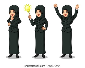 Set of businesswoman in black suit with veil cartoon design get great idea inspiration light bulb, thinking thoughtful gesture, and celebrating victory winner successful success with raised up arms.