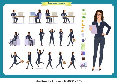 Set of Businesswoman character design with different poses.Elegant female office assistant sitting at the table with computer.Vector flat style illustration isolated on white.secretary working at desk