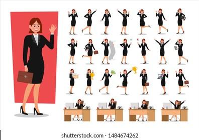 Set of Businesswoman character design. Vector illustration.