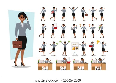 Set of Businesswoman character design. Vector illustration.