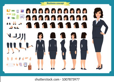 Set of Businesswoman character design.Front, side, back view animated character.Business girl character creation set with various views, poses and gestures.Cartoon style, flat vector isolated.Bussines