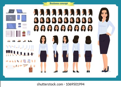 Set of Businesswoman character design.Front, side, back view animated character.Business girl character creation set with various views, poses and gestures.Cartoon style,flat vector isolated.Bussiness