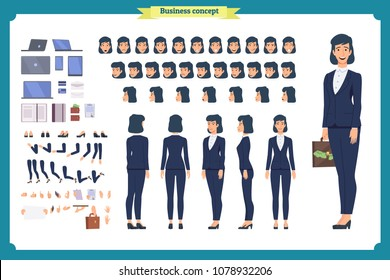 Set of Businesswoman character design.Front, side, back view animated character.Business girl character creation set with various views, poses and gestures. flat style vector isolated.simple, sketch