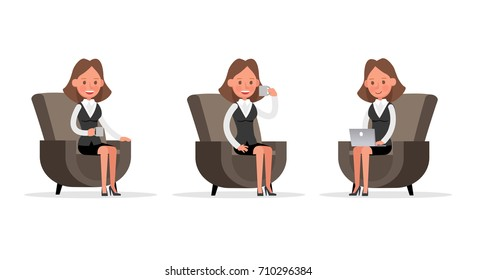 Set of Businesswoman character vector design.