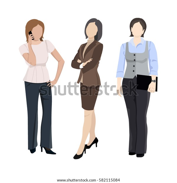 Set of businesswoman characters, elegant woman talking on the phone, holding folder