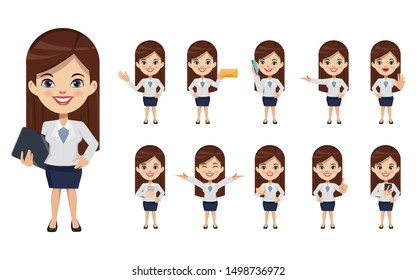 Set of businesswoman creation character pose with occupation job in uniform suit. Chibi cartoon business people style.