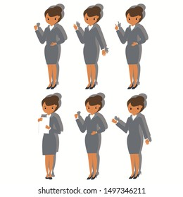 Set of businesswoman in different poses on white background. Business concept. Flat vector illustration for web site.