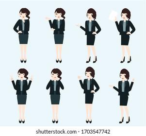 Set of businesswoman pose. Creative idea design. flat vector illustration for template, brochure or presentation.