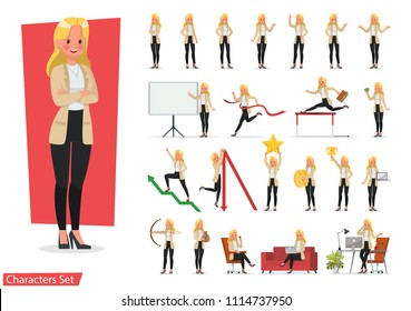 Set of businesswoman working character vector design. Presentation in various action with emotions, running, standing, walking and working.