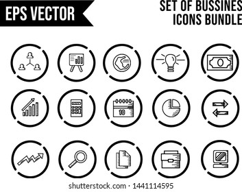 Set Of Bussines Icons Bundle In Circle Outline