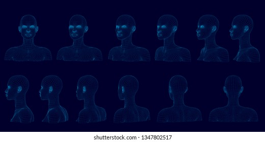Set with bust of girl in different positions. Wireframe of head of polygonal girl of blue lines on a dark background. Sequence of rotation of bust of girl. 3D. Vector illustration
