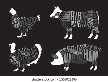 Set of  butcher diagrams. Cut of pig, chicken, turkey, cow set. Typographic vintage vector illustration