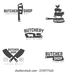 Set of butcher emblems, logotypes and labels isolated black on white background. Vector illustration