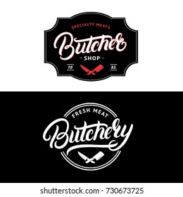 Set of Butcher Shop and Butchery hand written lettering logo, label, badge, emblem. Template for shop, cover, sticker, print, business works. Vintage retro style. Vector illustration