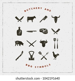 set of butchery and barbecue symbols with letterpress effect. hand drawn design elements. vector illustration