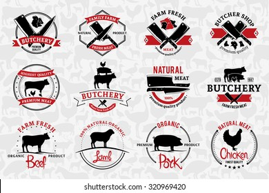 Set of butchery logo for groceries, meat stores, packaging and advertising.