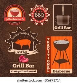 Set of butchery logos, badges and labels for restaurant, shops and cafes. Vector illustration of BBQ and grill  in vintage style.
