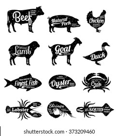 Set of butchery and seafood logo