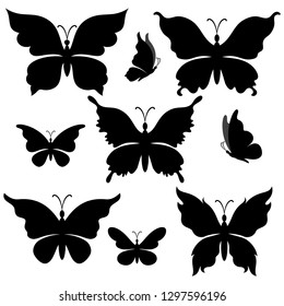 Set Butterflies, Black Silhouettes Isolated on White Background. Vector