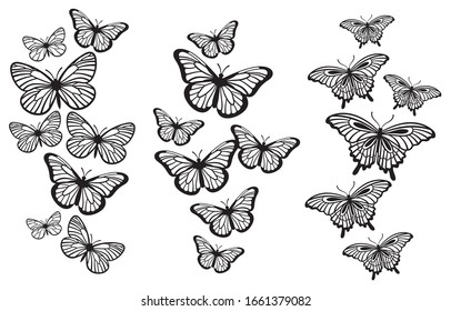 Set of butterflies. Collection of stylized flying butterflies. Set of beautiful silhouettes of insects. Tattoo. Illustrations for children.