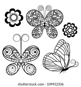 A set of butterflies and flowers, contour drawing