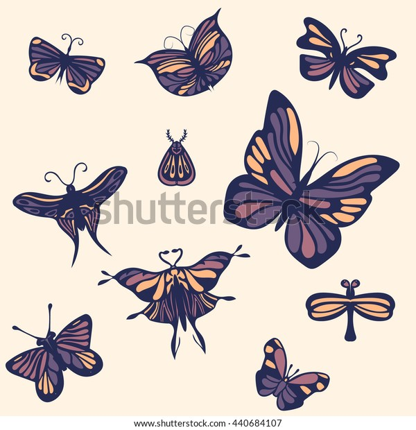 Set of butterflies. Hand drawn and simple