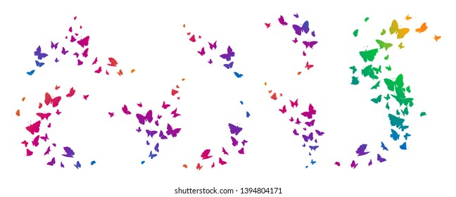 Set of butterflies, ink silhouettes. Glowworms, fireflies and butterflies icons isolated on white background. Hand drawn elements, Vector illustration.