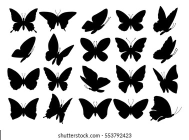 Set of butterflies, isolated on white, collection of silhouettes, EPS 8.