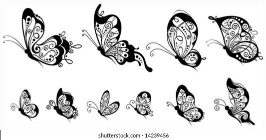 Set of butterflies, side view, vector