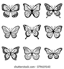 Set of butterflies silhouette