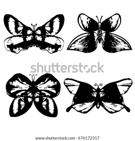 8507a75ef Set of butterflies for tattoo. Stencil. Vector illustration. Black and  White. Decorative