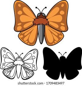 Set of butterfly cartoon illustration
